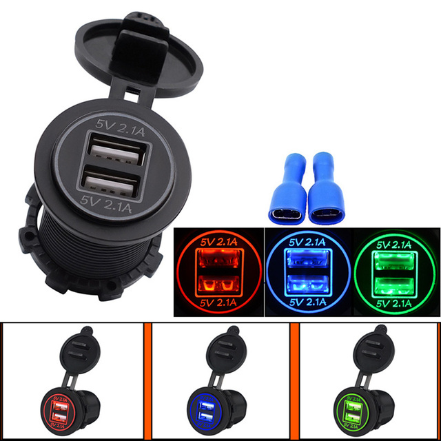 Étanche à La Poussière preuve 5 v Adaptate 1A 2.1A DC 12-24 v Moto Double USB Chargeur pour Téléphone /GPS Alimentation Port Socket CY671-CN