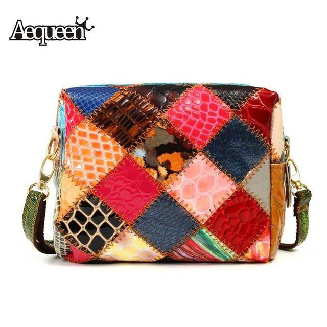 AEQUEEN Genuine Leather Handbag Women Small Shoulder Crossbody Bag Lady Patchwork Messenger Bags Colorful Flap Bags Random Color