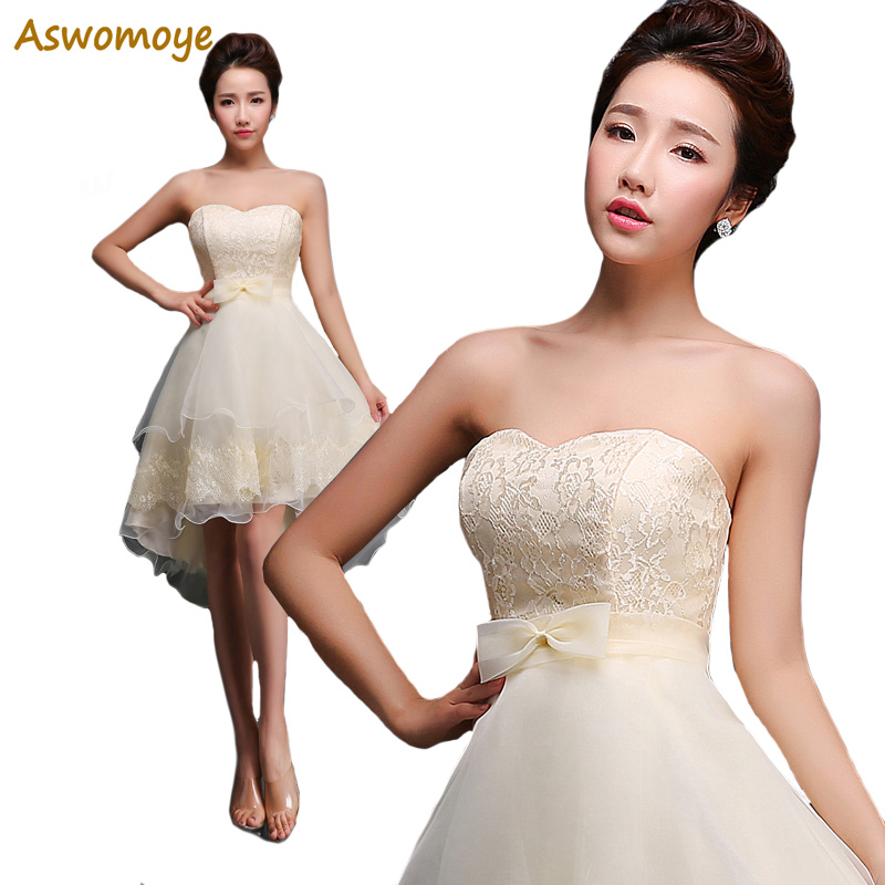Elegant Appliques Lace   Evening     Dress   2018 Off the Shoulder Bride Wedding Party   Dress   Sexy Short Front Long Back robe de soire
