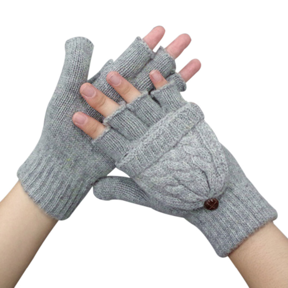 Winter Gloves Women Fingerless Gloves Warmer Mitten Girl Wool Exposed Finger Gloves Winter Ladies Mittens Solid Color