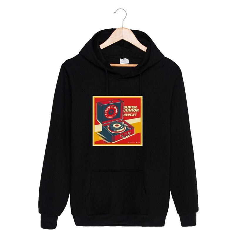 KPOP SUPER JUNIOR 8th Repackage Album Hoodies Hip Hop Hooded Long Sleeve Tops Pullovers Sweatshirts PT772