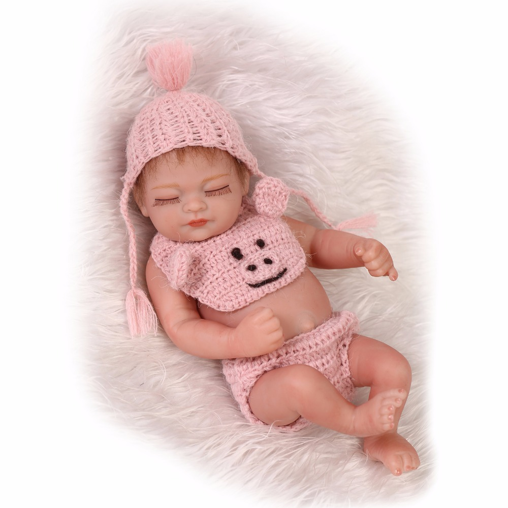 ФОТО nicery 10inch 26cm reborn baby doll soft  silicone waterproof boy gir toy gift for child christmas present pink girl pig mohair