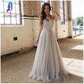 2017 Novo Design Sliver Pedrinhas Prom Vestidos Longo Festa Vestido de Noite Cintas de Tulle Frisada Zipper Voltar Chão Vestido Maxi