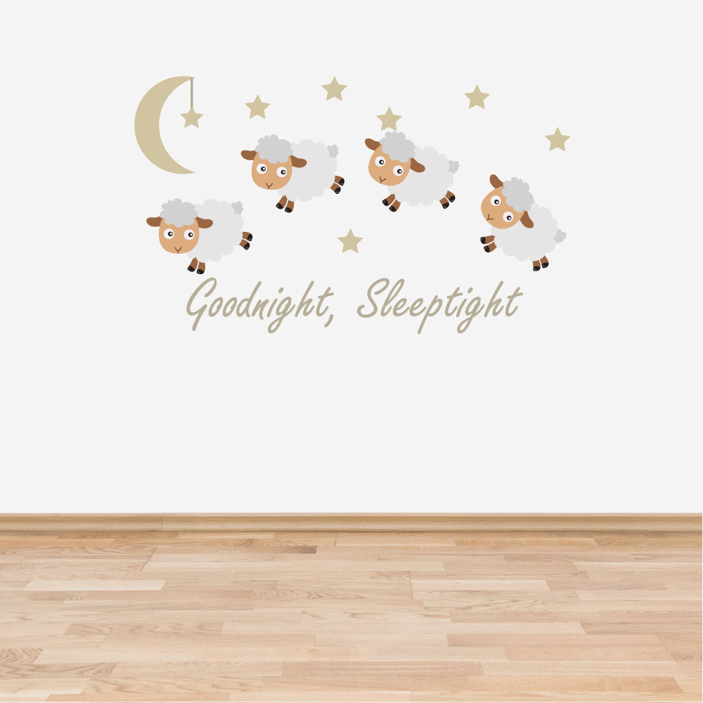 B2 Goodnight Sleeptight Counting Sheep Neutral Wall Sticker Decal