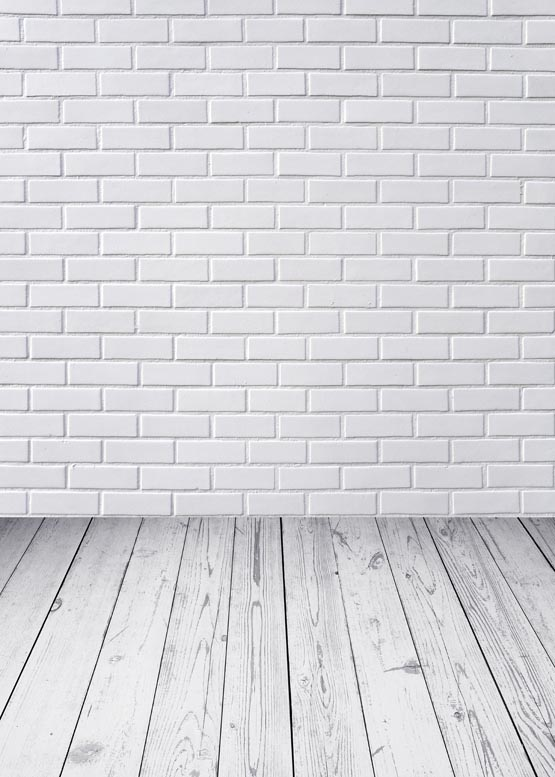 White Brick Wall Background Wood Floor Photography