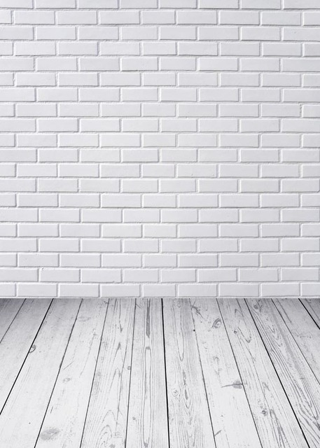 White Brick Wall Background Wood Floor Photography Backdrops Vinyl Digital Cloth For Photo Studio Backgrounds Props S 1112