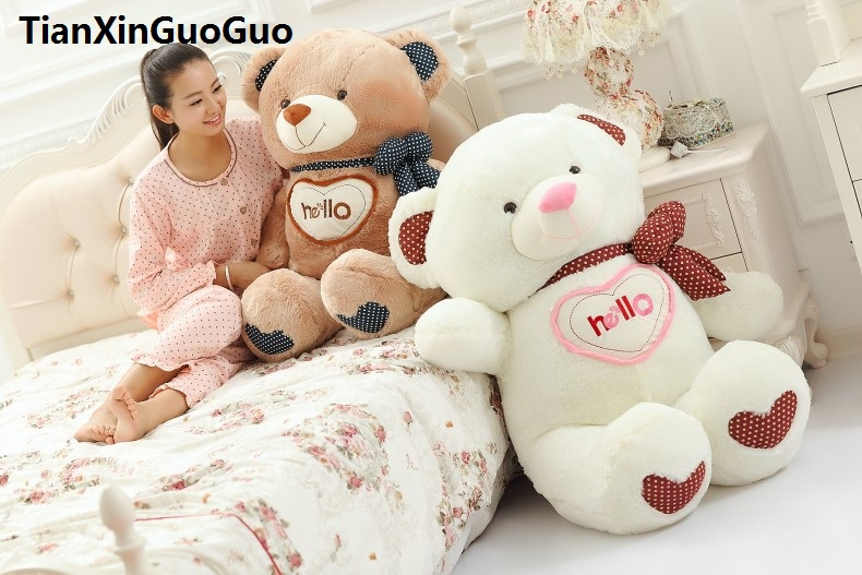 stuffed plush toy large 85cmhello bowtie teddy bear plush toy soft doll throw pillow Christmas gift w2997 stuffed animal 44 cm plush standing cow toy simulation dairy cattle doll great gift w501