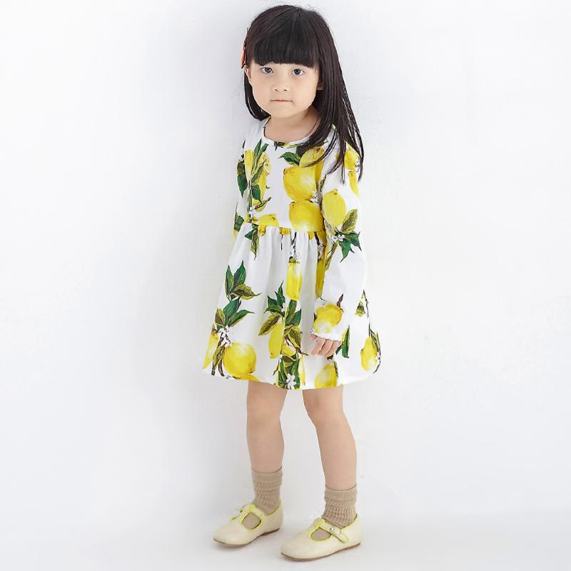 Baby Kids Girls Princess Birthday Dress Lemon Print Clothes Long Sleeve Spring Summer Girls Dresses For Party And Wedding hot sale girls dress patchwork long sleeve kids dresses for baby girls ball gown princess dress spring children clothes costume