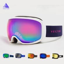 VECTOR Brand Ski Goggles Anti-fog UV400 Snowboard Men Women Spherical Big Mask Skiing Snowboarding Glasses