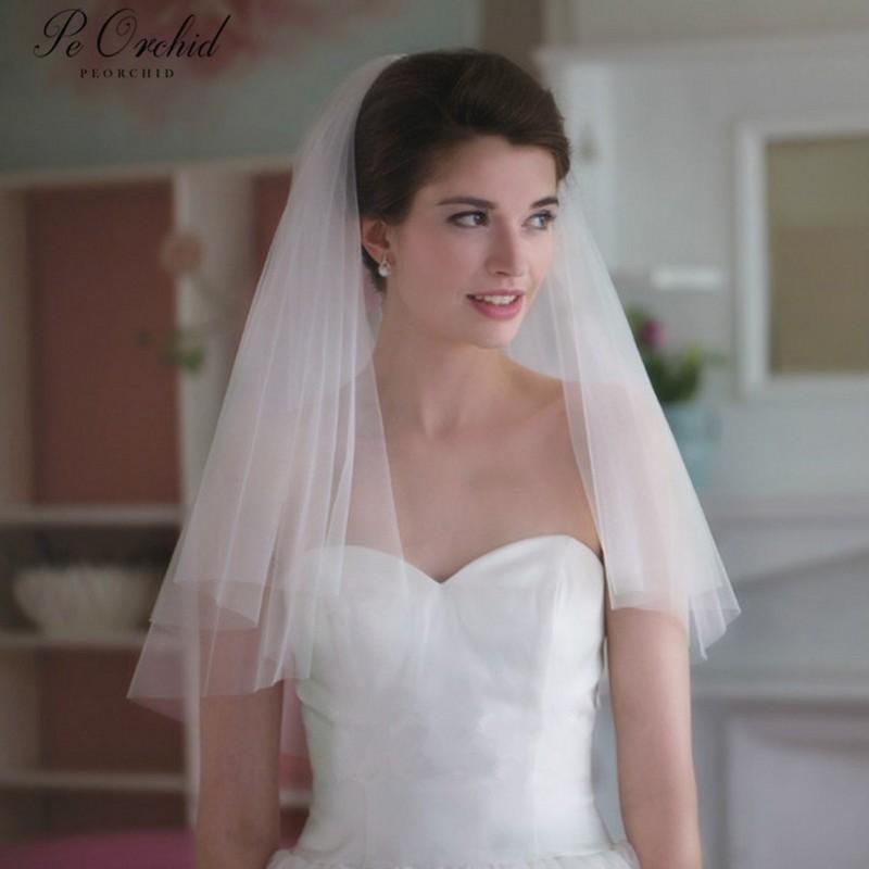 PEORCHID Two Layer Short Wedding Veil With Comb Cheap 2019 Dodatki Weselne Cut Edge Elegant Soft Tulle White/Ivory Bridal Veils