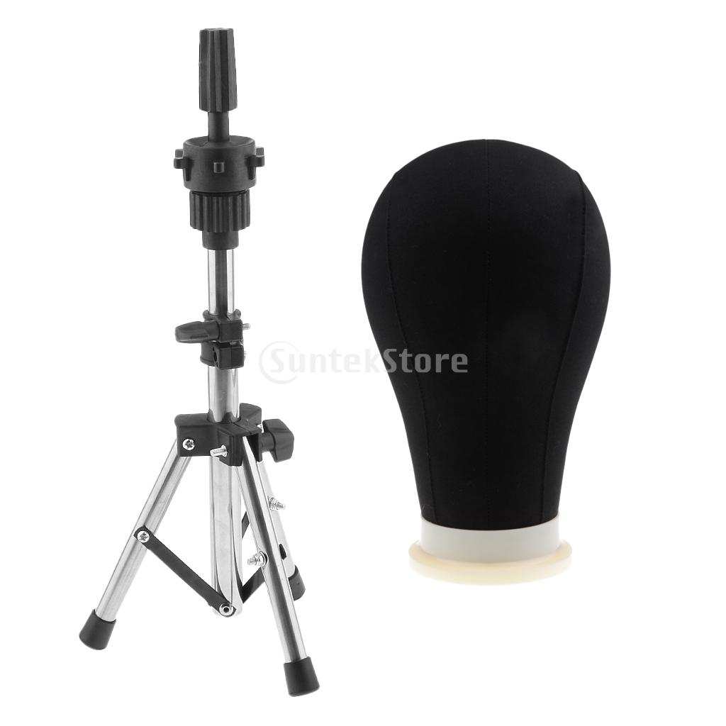 24inch Black Canvas Poly Block Professional Mannequin Manikin Head Model For Wig Make Display Style Dry With Tripod Clamp Stand