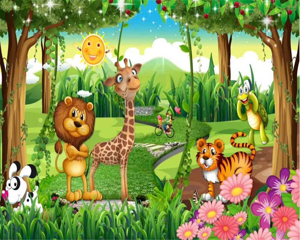 US $8 85 OFF Beibehang Custom Kindergarten Background Mural Wallpaper Fantasy Giraffe Lion Animal Forest Cartoon Children S Room 3d