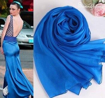 Muslim Big Beach Scarf 100% Pure Silk Plain Shawls Bikini Cover Designer Pashmina Summer Womens Long Scarfs hijabs Long Scarves фото