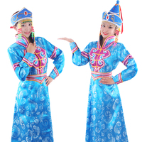 Blue Mongolian Costume Dance Clothes Chinese Minority Clothing Apparel Mongolia Dance Dress Stage Wear Jupe Vestido