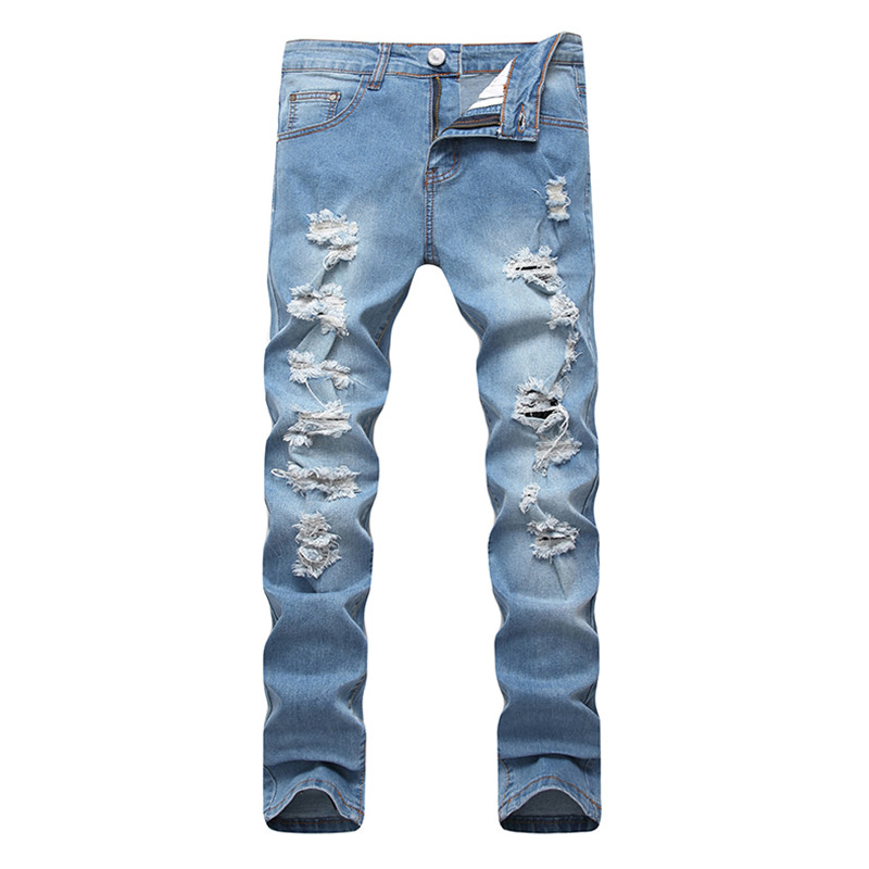 2017 New Autumn Dropshipping Biker Hole Jeans Men Long Trousers Skinny Ripped Distressed Jeans Denim Moto Pants Plus Size