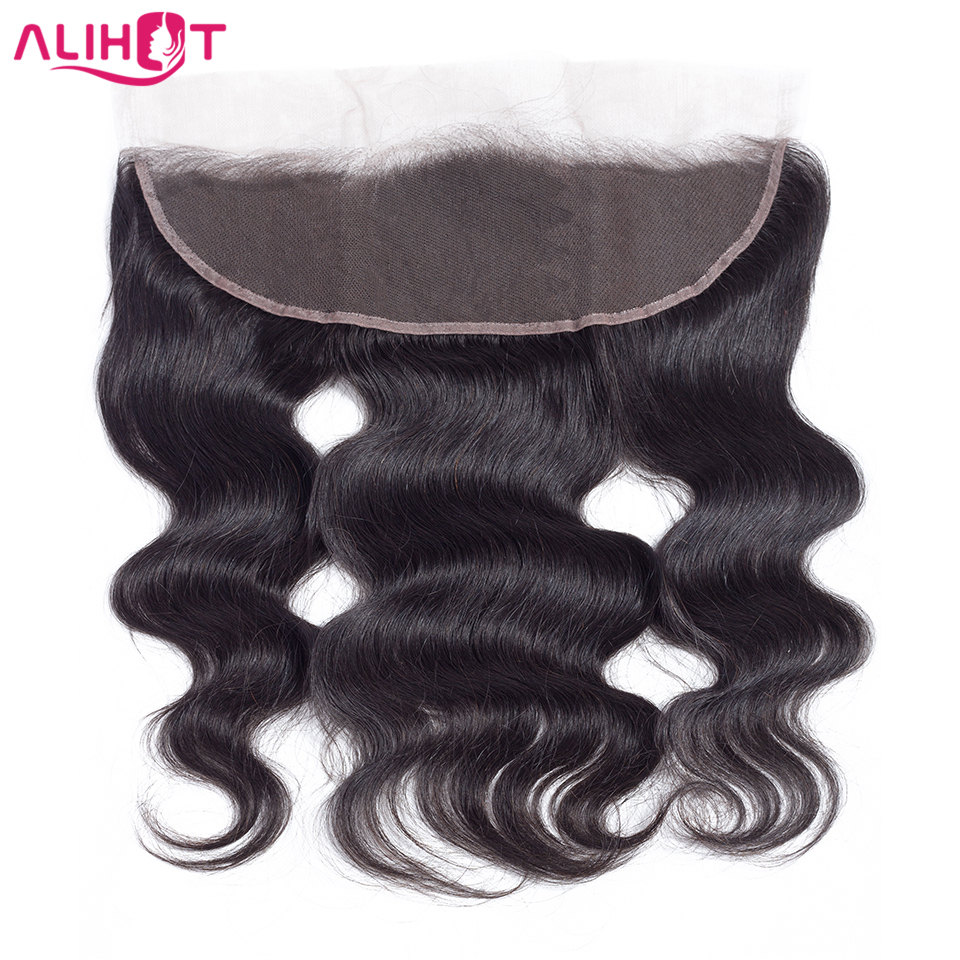 ALI HOT Hair Peruvian Body Wave Lace Frontal Closure 13*4 Free Part 100% Remy Human Hair Closure 130% Swiss Natural Color