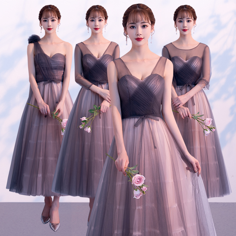 Beauty   Bridesmaid     Dresses   2018 Long Plus Size for Women Lace Up A-Line Half Sleeve Vestido Da Dama De Honra Reflective   Dress