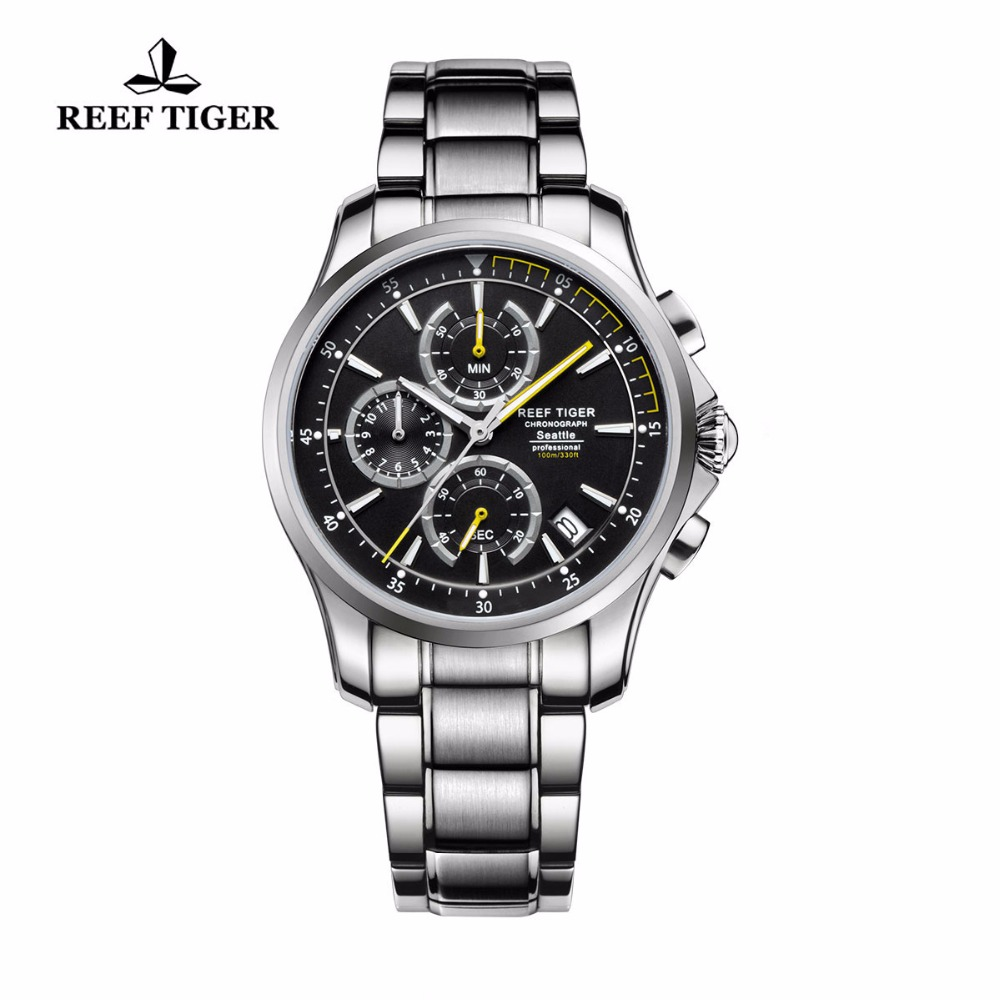 Reef Tiger/RT Watches Super Luminous Men's Chronograph Stop Watch with Date Casual Sport Watches Steel Quartz Watch RGA1663 2017 reef tiger rt mens designer chronograph watch with date calfskin nylon strap luminous sport watch rga3033