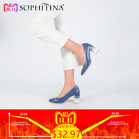 SOPHITINA Genuine Leather Woman Pumps Colorful Square Heels High Quality Sheepskin Sexy Pointed Toe Shoes Party Office Lady D24