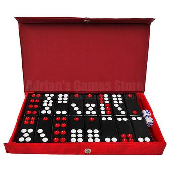 Czarne gry Domino Pai Gow 32 szt Domino z 2 kostkami gra planszowa Domino Jogos de Tabuleiro 5 4*2 4*0 8cm tanie i dobre opinie GG327 Leather Box PMM Dominoes 21 5*11 5*2cm