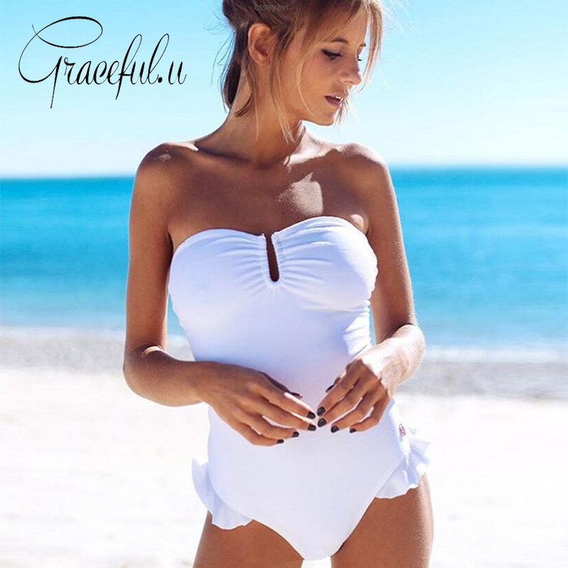 Sexy 2018 Hot Solid Color Ruffle One Piece Swimsuit Backless Bandage Thong Bathing Suit  ...