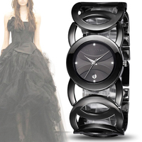 Lady Date Black Bangle Bracelet Watches Women Fashion Rhinestone Dial Infinity Jewelry Wrist Watch Gift For