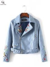 Autumn New arrival Fashion style Lady's Faux leather Bird flowers Embroidery pattern Sashes Women's leather short  jacket