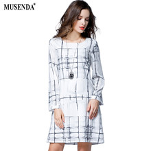 70dc7efbfd2e MUSENDA Plus Size Donne Beige Stampa Chiffon Rivestimento Abito Corto 2017  Autunno Femminile Office Lady Partito Vestido Abbigli.
