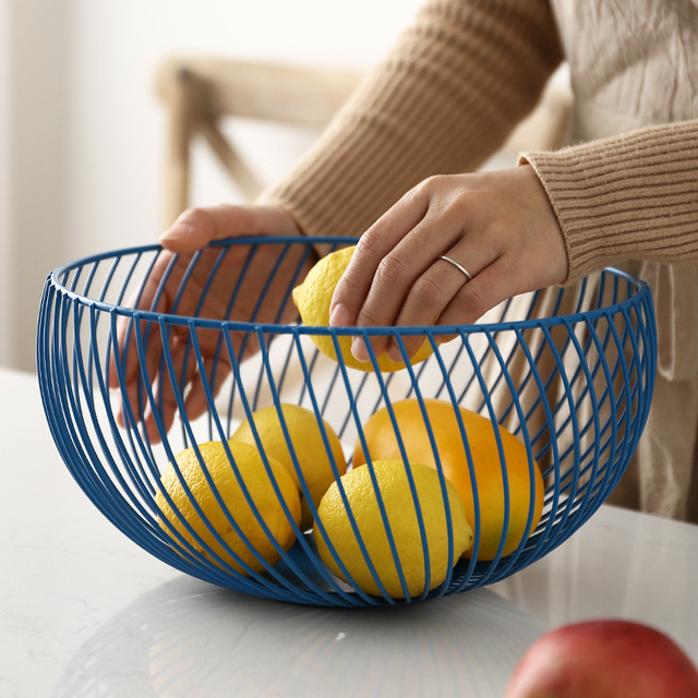 Nordic Modern Design Metal Fruit Basket Storage Rack Vegetable Snack Organizer Table Bowl Dining