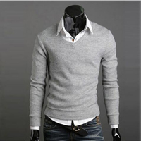 2016 Youth Cashmere Warm Mens Fashion Men Coat Thin Fashion V Neck Solid Pullovers Long Sleeve