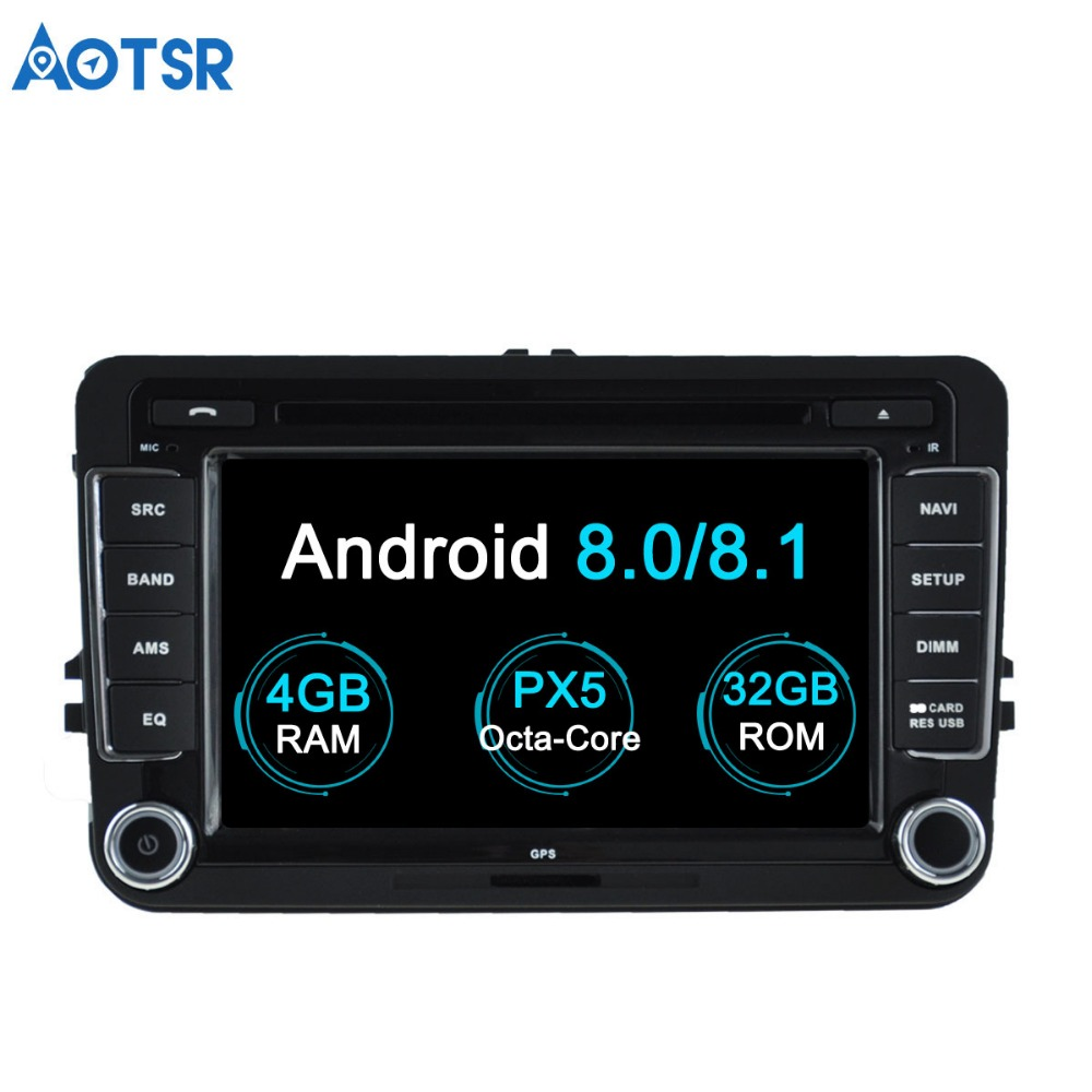 Aotsr Android 7.1 8.0 Car DVD player Multimedia For Volkswagen old golf passat tiguan skoda superb GPS navigation 2 Din radio