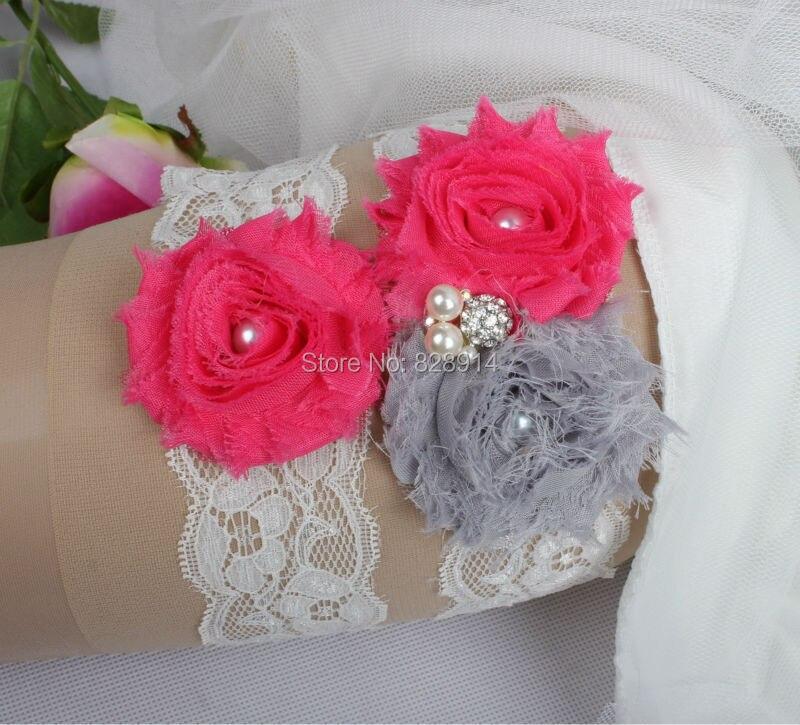Doprava zdarma Originální design Lace Trim Shabby Flower svatební podvazkové sady na svatbu vyrobené z ručně vyrobeného Shabby Flower