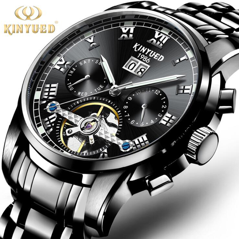 Genuine Luxury KINYUED Brand Men Self-wind Waterproof Full Steel Automatic Mechanical Watch Fashion Black dial Tourbillon Watch mce brand men self wind waterproof leather strap automatic mechanical male black white dial fashion tourbillon watch men clock