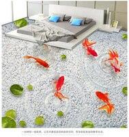 Tự dính 3D fresco tầng màng bảo vệ phòng khách sàn phòng tắm hình nền wallpaper tầng bìa sen cá ba-dimens