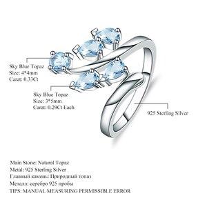 Image 5 - Klejnot balet naturalne niebo niebieski topaz oryginalna 925 sterling Silver pierścienie kwiatowe dla kobiet rocznica biżuterii prezent