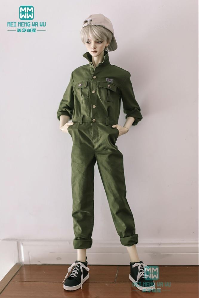 BJD Doll Clothes Fits 70cm--80cm BJD Uncle Handsome Army Green Siamese Suit Set