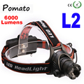 The newest CREE XM-L XML L2 LED 6000 Lumens Zoomable Rechargeable LED Headlight / Headlamp CREE Light Flashlight