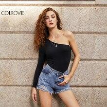 COLROVIE Black Basic One Shoulder Bodysuit Rib Knit Elegant Women Sexy Autumn Bodysuits 2017 Fashion Long Sleeve Skinny Bodysuit