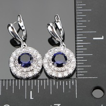 Blue Bridal Silver 925 Jewelry Sets Women Pendant & Necklace Ring Earrings With Natural Stones Bracelets Jewelry Gift Box