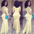 2016 Nueva Moda Africana Del Cordón Vestidos de Noche de La Sirena O Cuello Piso-Longitud Vestido de Noche de Encaje Amarillo Vestido de Estilo Elegante de Nigeria