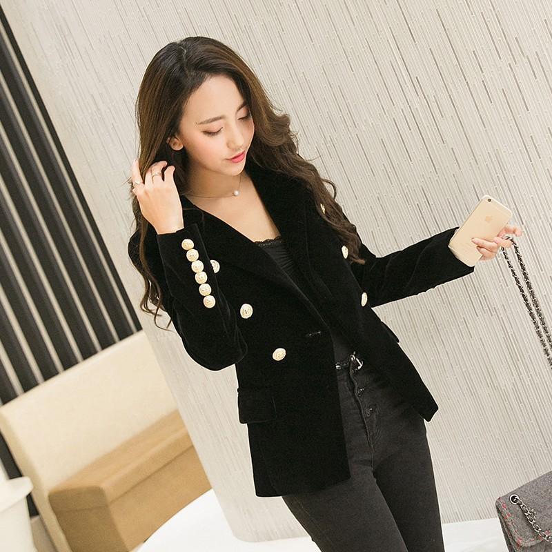2017 New Spring Fashion Women Midnight Navy Slim Velvet Blazer Jacket Double Breasted Simple Lady Blazers High Grade OL Female