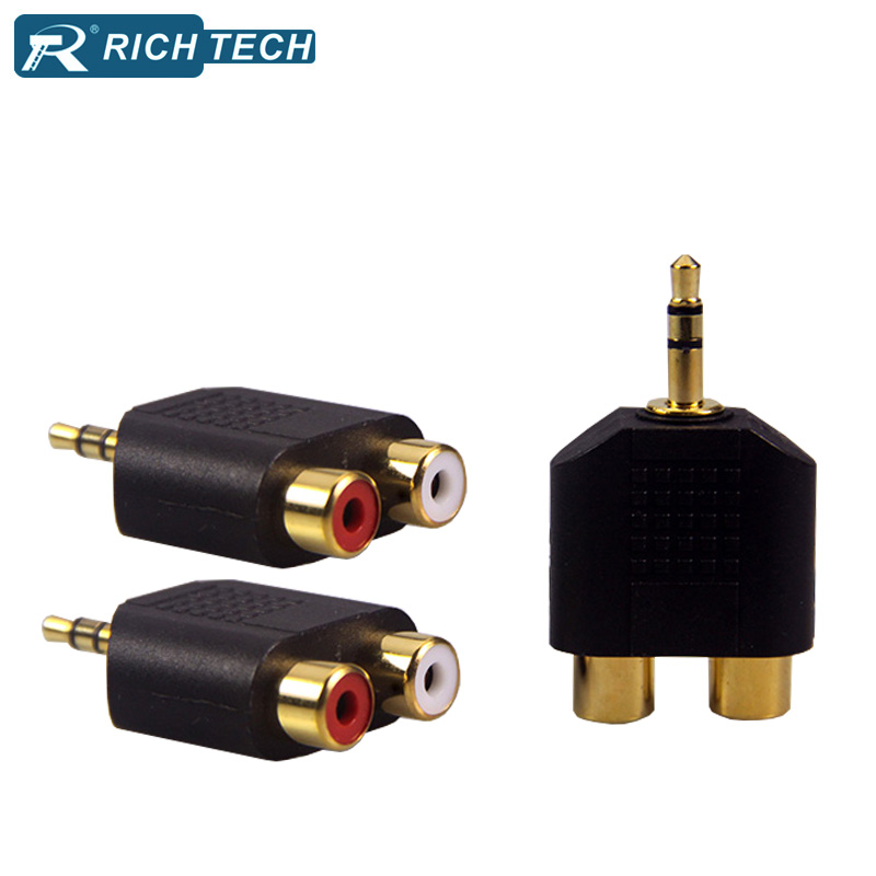 5pcs Gold plated stereo 3.5 plug adapter to 2xjack RCA male to female audio speaker adapter cable terminal wire connector  skw audio cable speaker wire male to male hi end gold plated jack nylon cable lock adapter connector for hifi amplifier 5 16ft