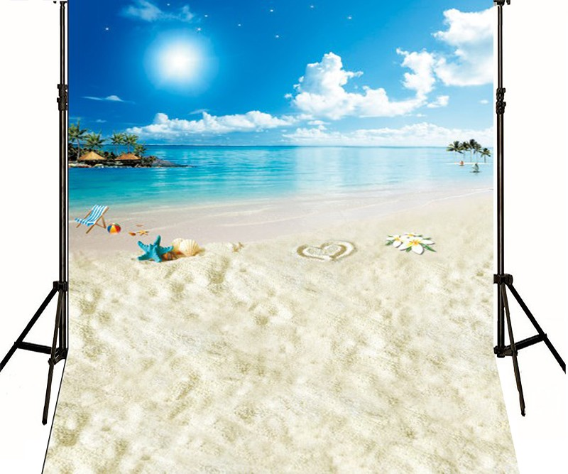 Starfish beach pafty Island Blue Sky White Clouds Backgrounds Vinyl cloth High quality Computer printed newborns backdrop