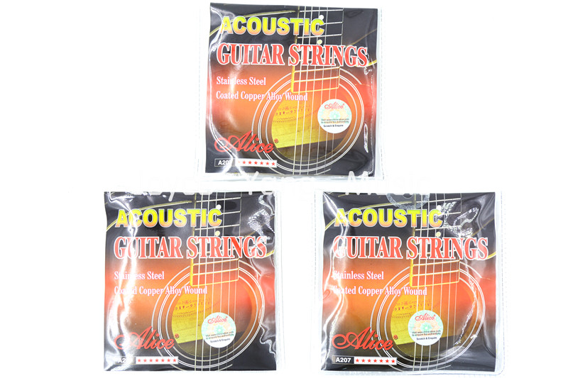 3 Sets Of Alice A207-SL Acoustic Guitar Strings Phosphor Bronze Color Alloy Wound&Stainless Steel Strings
