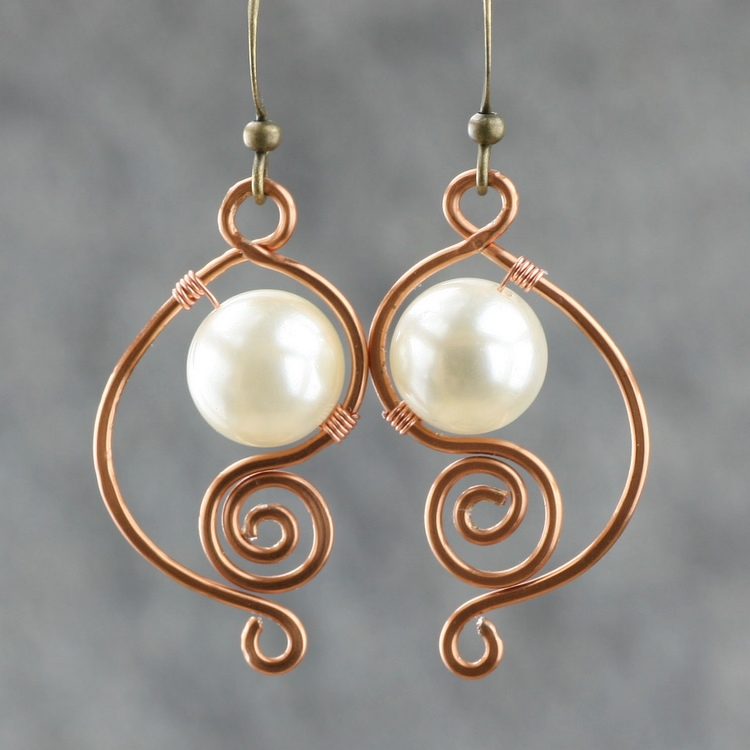 White Pearl Earrings Female Br Handmade Earring Fashion Unique Diy Copper Wire Jewelry In Drop From Accessories On