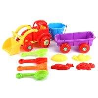 10pcs Set Sand Water Beach Play Toys Set Kids Children Seaside Car Truck Bucket Shovel Kit