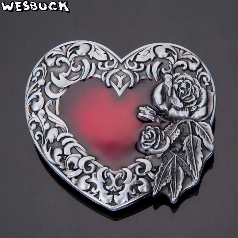 WesBuck BrandNew High quality 3D Red love Roses Fashion belt buckle Classic Mens Womens Jeans accessories in Buckles Hooks from Home Garden