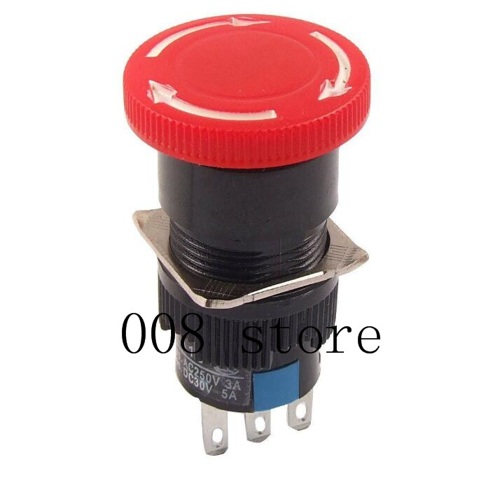 1pcs Red Mushroom DC 30V 5A AC 250V 3A Emergency Stop Push Button Switch