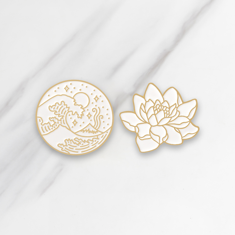 Wave and Lotus Enamel Brooches <font><b>Button</b></font> <font><b>Pins</b></font> for clothes bag Simple White Gold Badge Fashion Girl Jewelry Gift for friends image