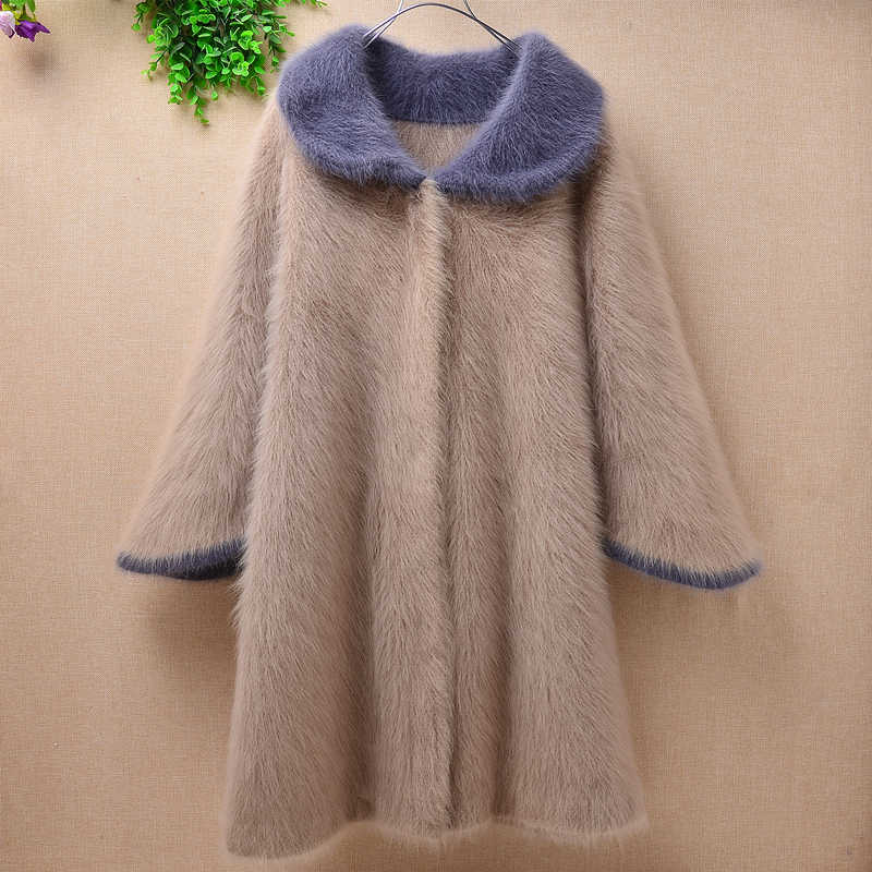 Top quality Female real plush mink cashmere turn-down collar cardigan loose long flare sleeves angora fur sweater coat winter
